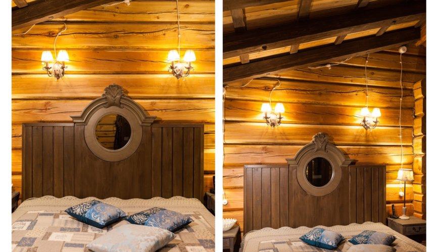 Зеркало и изголовье кровати.